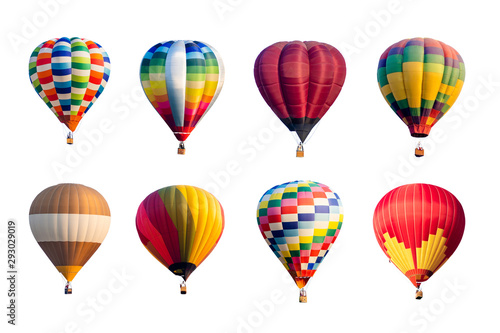Wallpaper Mural Set of colorful hot air balloons isolated on white background.