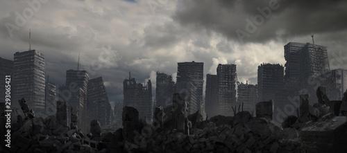Obraz na plátně Ruined Cityscape