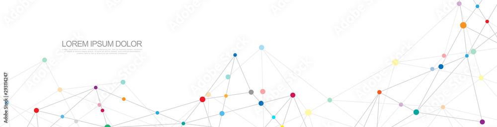 Projekt nagłówka lub baneru z abstrakcyjnym tłem geometrycznym i łączeniem kropek i linii. Globalne połączenie sieciowe. Technologia cyfrowa z tłem splotu i miejscem na tekst. <span>plik: #293114247   autor: K!NGW!N</span>