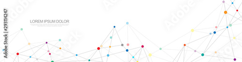 Website header or banner design with abstract geometric background and connecting dots and lines. Global network connection. Digital technology with plexus background and space for your text.