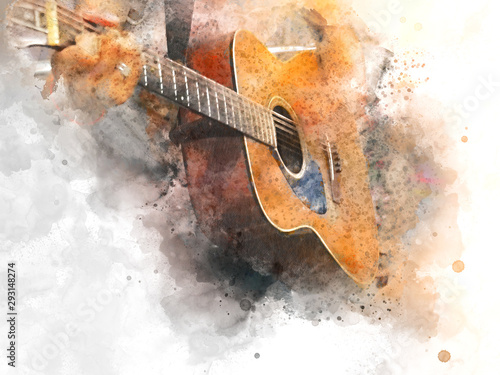Fotografie, Obraz Abstract colorful shape on acoustic Guitar in the foreground on Watercolor painting background and Digital illustration brush to art