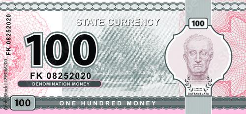 Canvas Print Vector money banknotes illustration with portrait of Gattamelata by Donatello