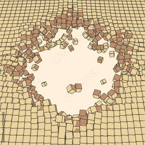 Fototapeta brown cube pavement sinkhole opening up