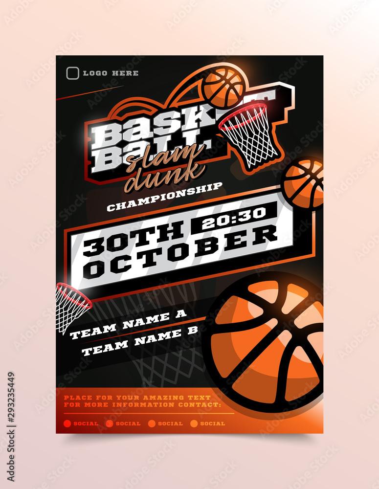 Basketball Sport Flyer Vector. Vertical Card Poster Design For Sport Bar Promotion. Tournament Flyer. Invitation Illustration <span>plik: #293235449   autor: lunarts_studio</span>