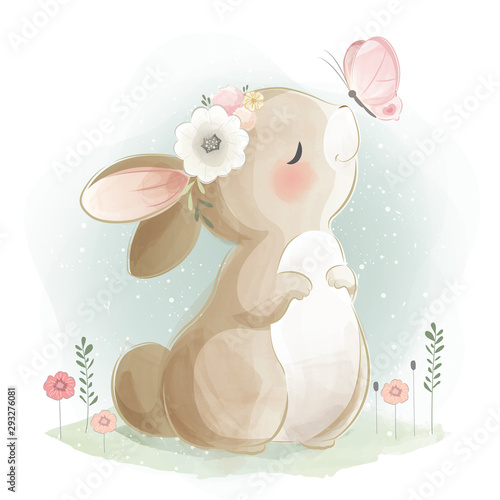 Cute Bunny and the Butterfly Fototapete