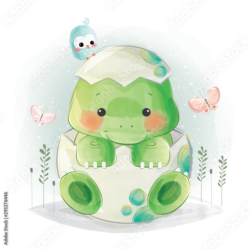 Canvas Print Cute Baby Dino in Egg