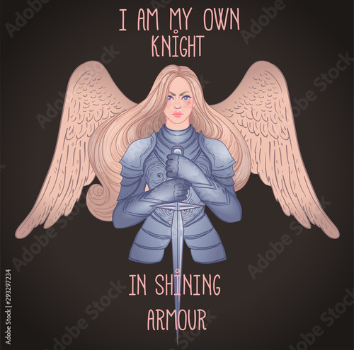 Fotografia .Portrait of beautiful girl with archangel wings. Female knight in armour and sw