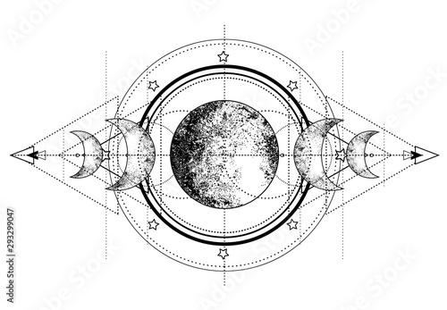Stampa su Tela Triple moon pagan Wicca moon goddess symbol