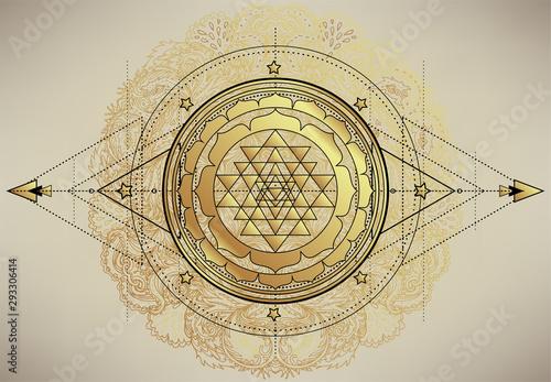 Canvas Print The Sri Yantra or Sri Chakra, form of mystical diagram, Shri Vidya school of Hindu tantra symbol