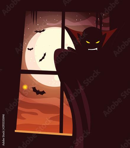 Photo Halloween vampire vector design icon