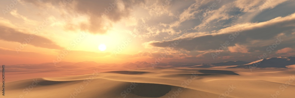 Sand desert at sunset under the sky with clouds.