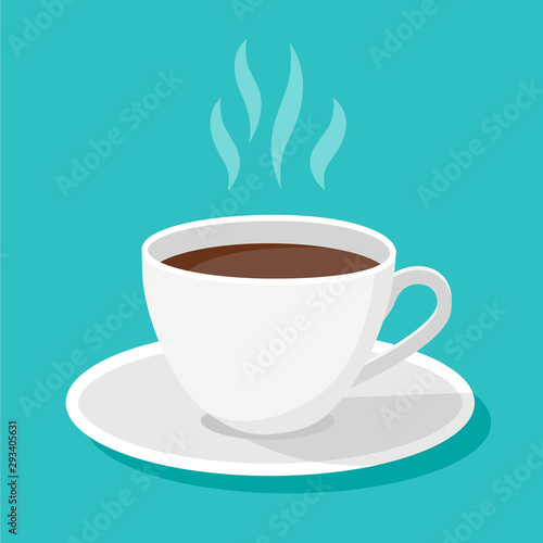 Valokuva White classical black coffee cup with steam and shadows isolated on blue background