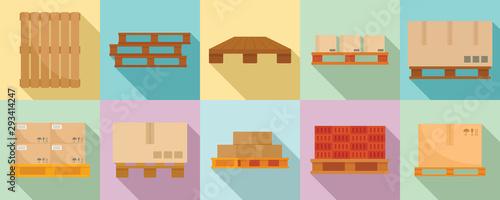 Fotografia Pallet icons set. Flat set of pallet vector icons for web design