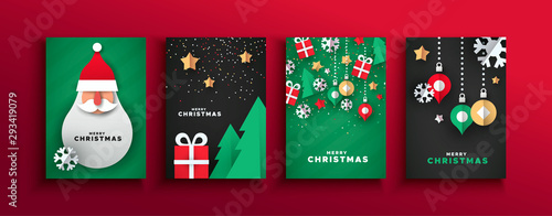 Foto Christmas New year papercut santa claus card set