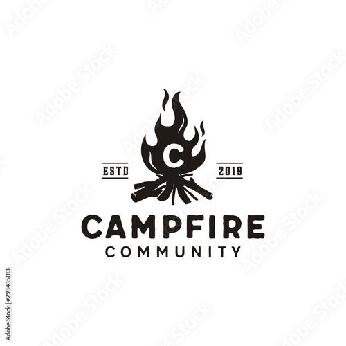 Photo Bonfire Camp fire flame vintage retro logo design