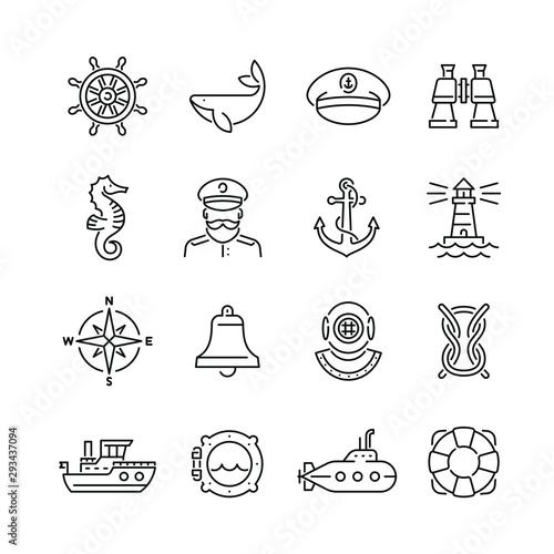 Fototapeta Marine related icons: thin vector icon set, black and white kit