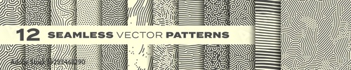 Foto Seamless patterns vector set, abstract organic lines backgrounds