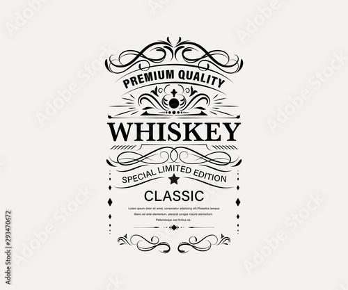 Photo Vintage premium whiskey label banner badges set