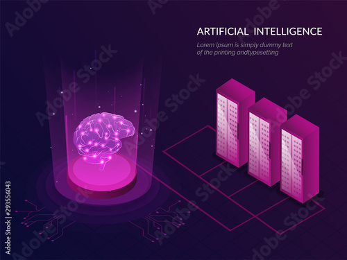Artificial Intelligence (AI) responsive web template isometric illustration of servers, brain between glowing emerging digital rays for deep learning concept Fototapet