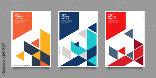 Fotografia, Obraz Placard templates set with Geometric shapes, Geometric art for covers, banners, flyers and posters