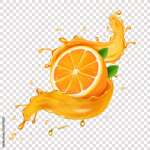 Wall mural Juicy orange fruit in realistic orange juice splash