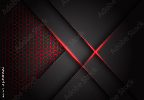 Abstract grey metallic overlap red light hexagon mesh design modern luxury futuristic technology background vector illustration Fototapet