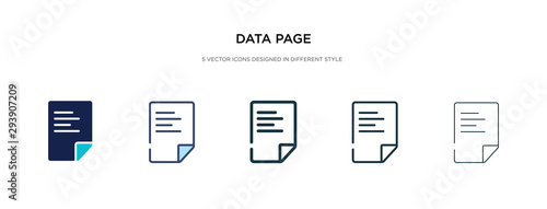 Fotografie, Tablou data page icon in different style vector illustration
