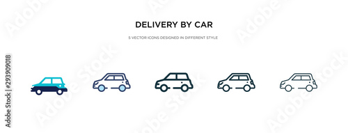 delivery by car icon in different style vector illustration. two colored and black delivery by car vector icons designed in filled, outline, line and stroke style can be used for web, mobile, ui