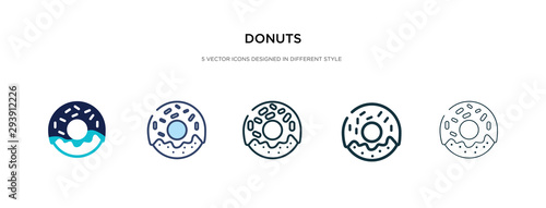 Fotografiet donuts icon in different style vector illustration