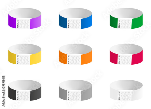 Valokuvatapetti Vector set of cheap empty bracelets or wristbands in most common colors