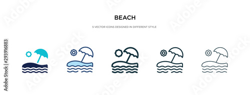 Billede på lærred beach icon in different style vector illustration