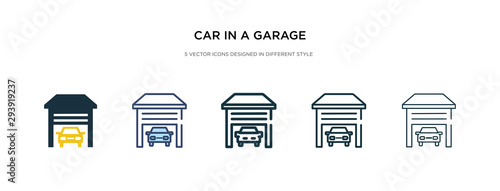 Photo car in a garage icon in different style vector illustration