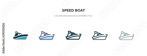 Fotografering speed boat icon in different style vector illustration