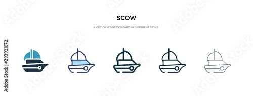 Obraz na plátně scow icon in different style vector illustration