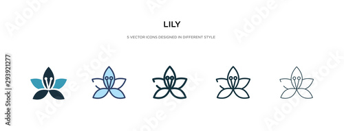 Stampa su Tela lily icon in different style vector illustration