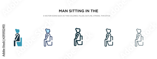 Canvas Print man sitting in the bathroom icon in different style vector illustration