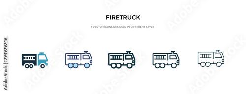 Fotografia firetruck icon in different style vector illustration