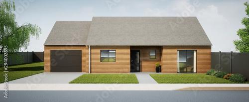Fotografie, Tablou vue 3d maison de plain pied en ossature bois 02