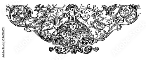Photo Footer with Cherub with a cherub and birds, vintage engraving.