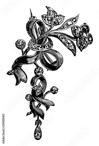 Brooch, ribbon, vintage engraving. Fotobehang