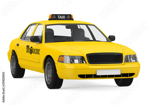 Photo Yellow Taxi Isolated