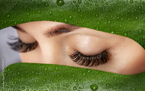 Fotografia, Obraz Beautiful Woman with long lashes on the background of a leaf of monstera with water droplets