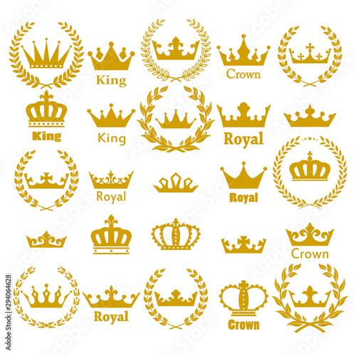 Obraz na płótnie Crown icon set heraldic symbol vector illustration.