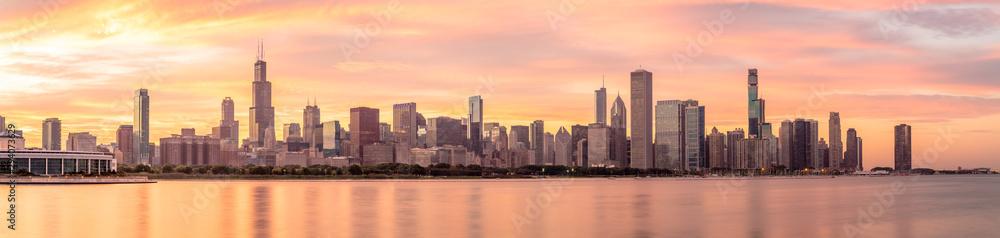 Chicago downtown buildings skyline panorama <span>plik: #294073629 | autor: blvdone</span>