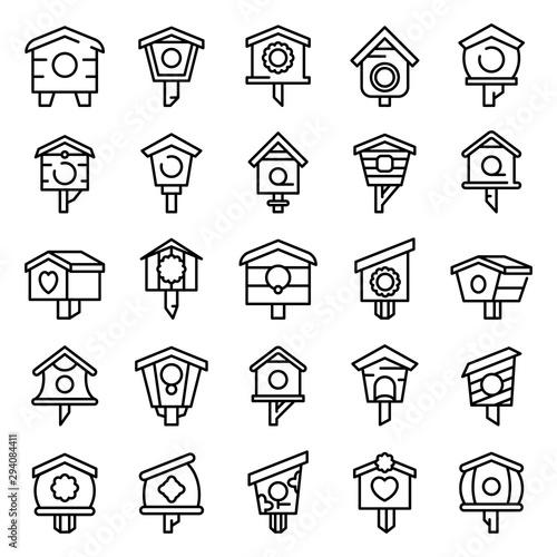 Foto Bird house icons set