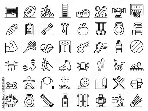 Outdoor fitness icons set Fototapeta
