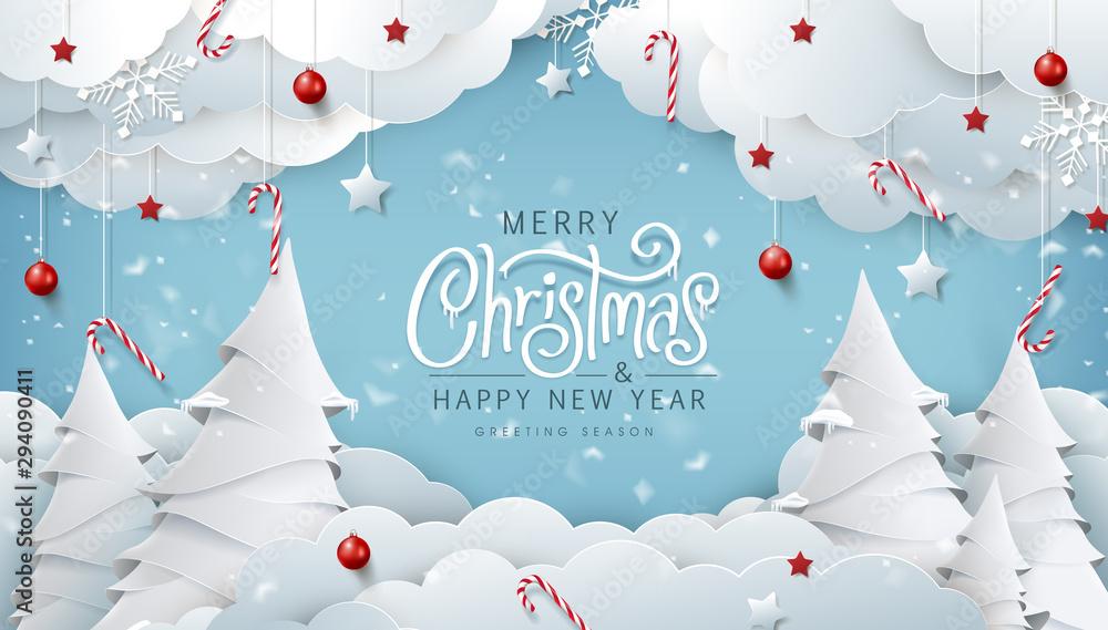 Zimowy skład Boże Narodzenie w stylu cięcia papieru. Wesołych Świąt tekst kaligraficzna napis ilustracji wektorowych. <span>plik: #294090411   autor: bokmok</span>
