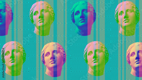 Photo Contemporary art concept collage with antique statue head in a surreal style