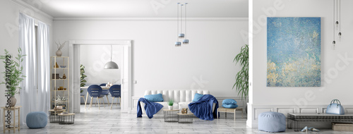 Interior design of modern scandinavian apartment, living room and dining room, panorama 3d rendering