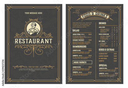 Carta da parati Antique  template for  restaurant menu design with Chef illustration